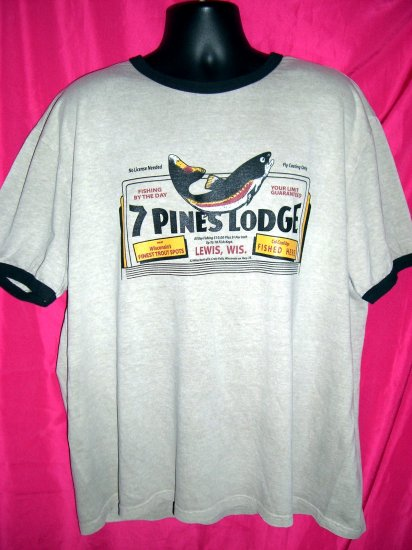 "SOLD! FISHING XXL (2XL) T-SHIRT Fly Casting  ""7 PINES LODGE""  Lewis Wisconsin WI  Trout"