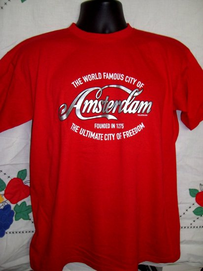 "SOLD! City of AMSTERDAM Red Medium T-Shirt ""The Ultimate City of Freedom"""