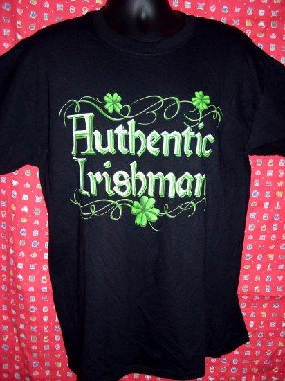 """ AUTHENTIC IRISHMAN ""  Size Large Black T-Shirt IRISH PRIDE! Ireland"
