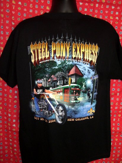 STEEL PONY EXPRESS Motorcycle Rally VII ~ 2004 NEW ORLEANS Biker Large T-Shirt EXCELLENT!