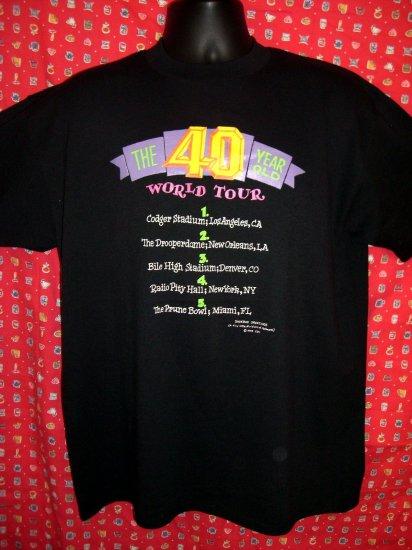 "Funny Gag Gift 40th Birthday XL Black T-Shirt ""The 40 Year Old World Tour ""  The big 4-0!!"