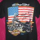 Vintage 1990 FLSCT Heritage Softtail Harley Davidson Medium / Large T-Shirt America US FLAG Free S/H