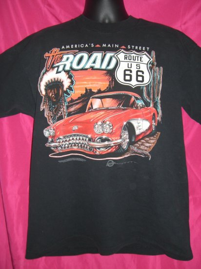 Route 66 Corvette Car Large T-Shirt