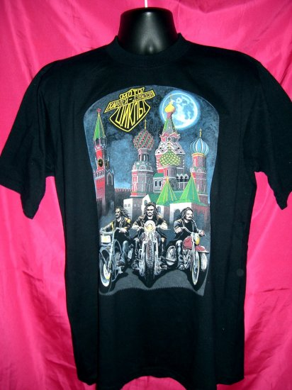 SOLD! MOSCOW RUSSIA RUSSIAN HARLEY DAVIDSON  Medium or Large BLACK T-SHIRT USSR