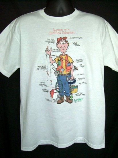 """Funny Fishing Large T-Shirt """"Anatomy of a Certified Fisherman"""" 50/50  Vintage!"""