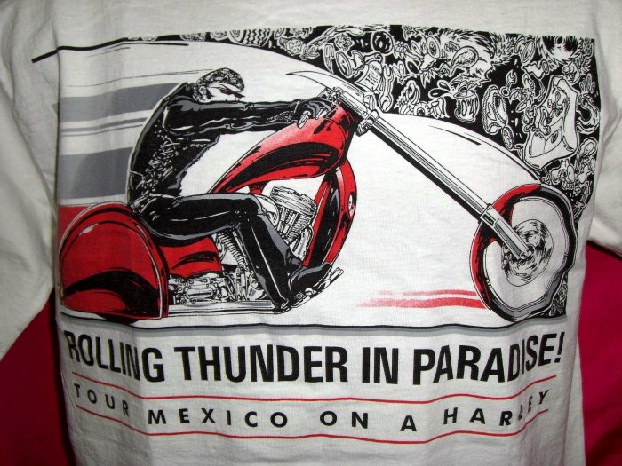 SOLD! Harley Davidson Medium T-Shirt Tour Mexico Cabo Rolling Thurnder