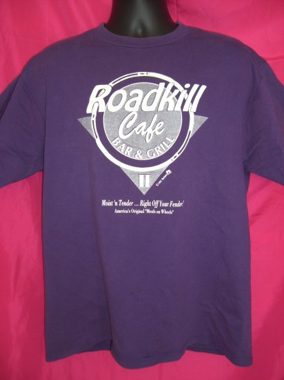 SOLD!  Funny 1993 ~ Road Kill Cafe Large Purple T-Shirt ~ Hunter ~ Red Neck