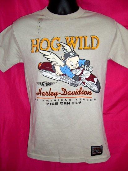 SOLD! Rare Harley Davidson Warner Bros SMALL T-Shirt  Porky Pig ~ HOG WILD~ Pigs Can Fly