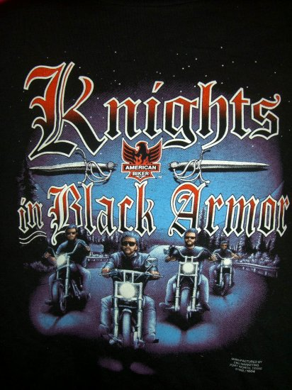 SOLD! Rare Knights in Black Armor Motorcycle Medium or Large Black T-Shirt Vintage 1992