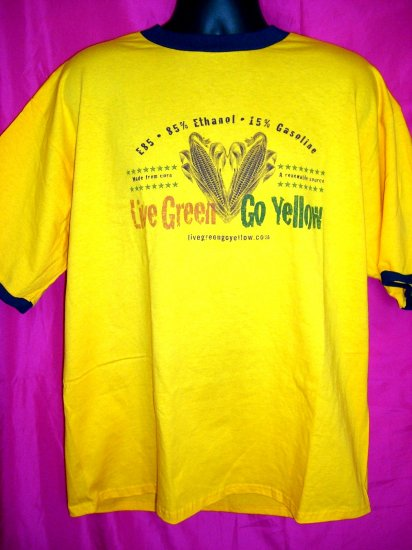 HOLD Bi-Fuel Live Green  Go Yellow Promo XL T-Shirt  Alternative Global Fuel Eco Green