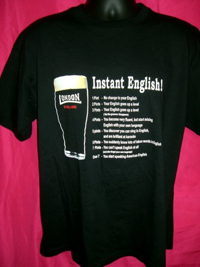 Funny Drinking Large Black T-Shirt Pint  London England UK