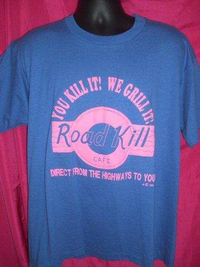 SOLD! Funny Vintage 50/50 Road Kill Cafe XL T-Shirt Puffy ~ Fun Menu