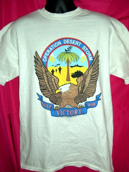 SOLD! Rare Operation Desert Storm Large T-Shirt 1991 ~ WE ARE THE THUNDER LIGHTNING  Army Navy USMC