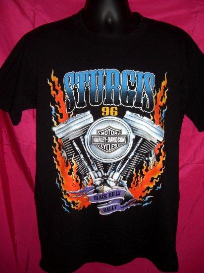 SOLD! 1996 Sturgis Bike Week Rally Harley Davidson Black Large T-Shirt