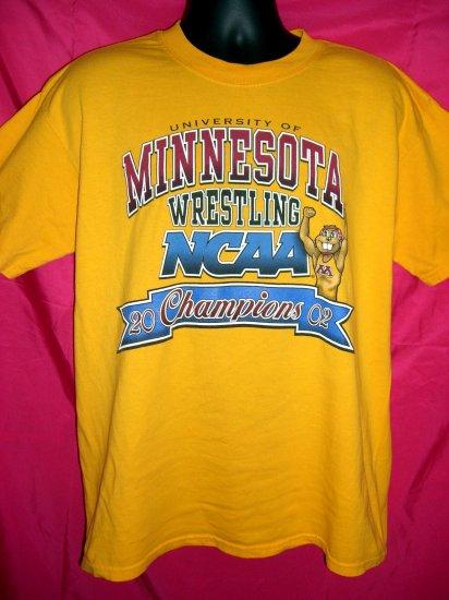 University of Minnesota U of M Large T-Shirt  WRESTLING NCAA  2002 Champions Golden Gophers