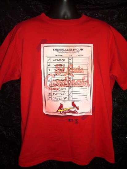 Cardinals Baseball Large or XL T-Shirt Circa 2004 Line-Up Card ~ Busch Stadium St Louis MO
