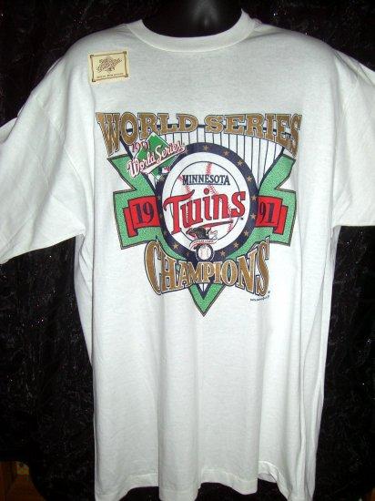 Vintage 1991 White XL T-Shirt Minnesota Twins Baseball World Series