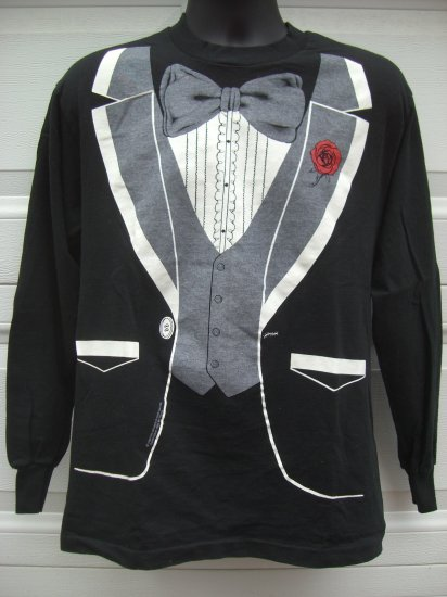 SOLD! Vintage 1980 ~ Black TUXEDO (TUX) Long Sleeve Size MEDIUM T-Shirt  ~ For Prom Parties