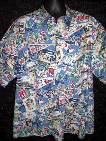 SOLD! Reyn Spooner Size XXL (2XL) MN Minnesota Twins ~ Scenic Baseball Print Hawaiian Shirt