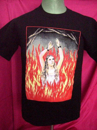 Unique Size MEDIUM Black T-Shirt Girl Chains Flames Hmmm