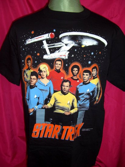 SOLD! Vintage 1991 STAR TREK Medium / Large T-Shirt Crew Kirk Spock Uhura McCoy