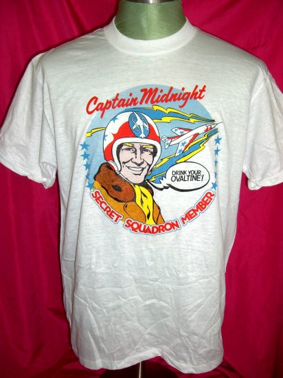 SOLD! Rare Captain Midnight Size Medium Thin T-Shirt ~ Drink Your Ovaltine!