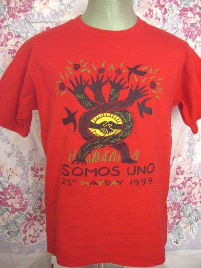 Somos Uno ~ Size Medium / Large Red T-Shirt Mayday 1999
