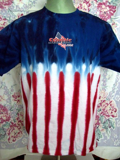 Cool USA Flag Tie Dye Sturgis Motorcycle Rally 2002 T-Shirt Size Large