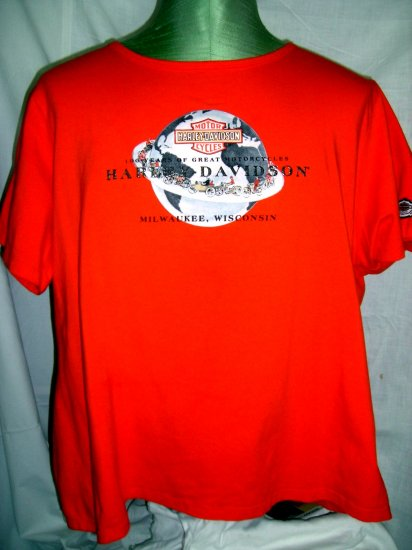 Ladies Harley Davidson Size XL / XXL Orange T-Shirt