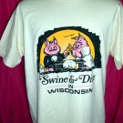Vintage Swine & Dine in Wisconsin Size LARGE T-Shirt ~WI Old School Screen Stars ~ 50%