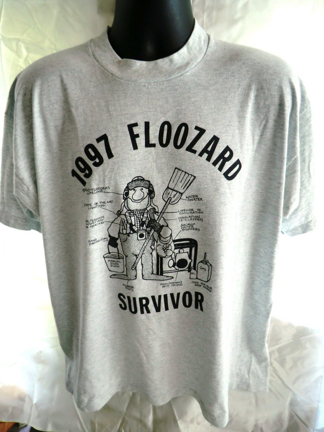Funny North Dakota Size XL T-Shirt Survivor Floozard (Flood) ND