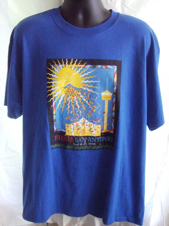 SOLD! April 2004 Fiesta San Antonio Texas TX Blue T-Shirt Size XL XXL
