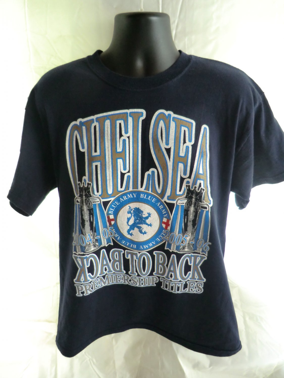 SOLD! CHELSEA UK BLUE ARMY Size Large T-Shirt BACK to BACK Titles