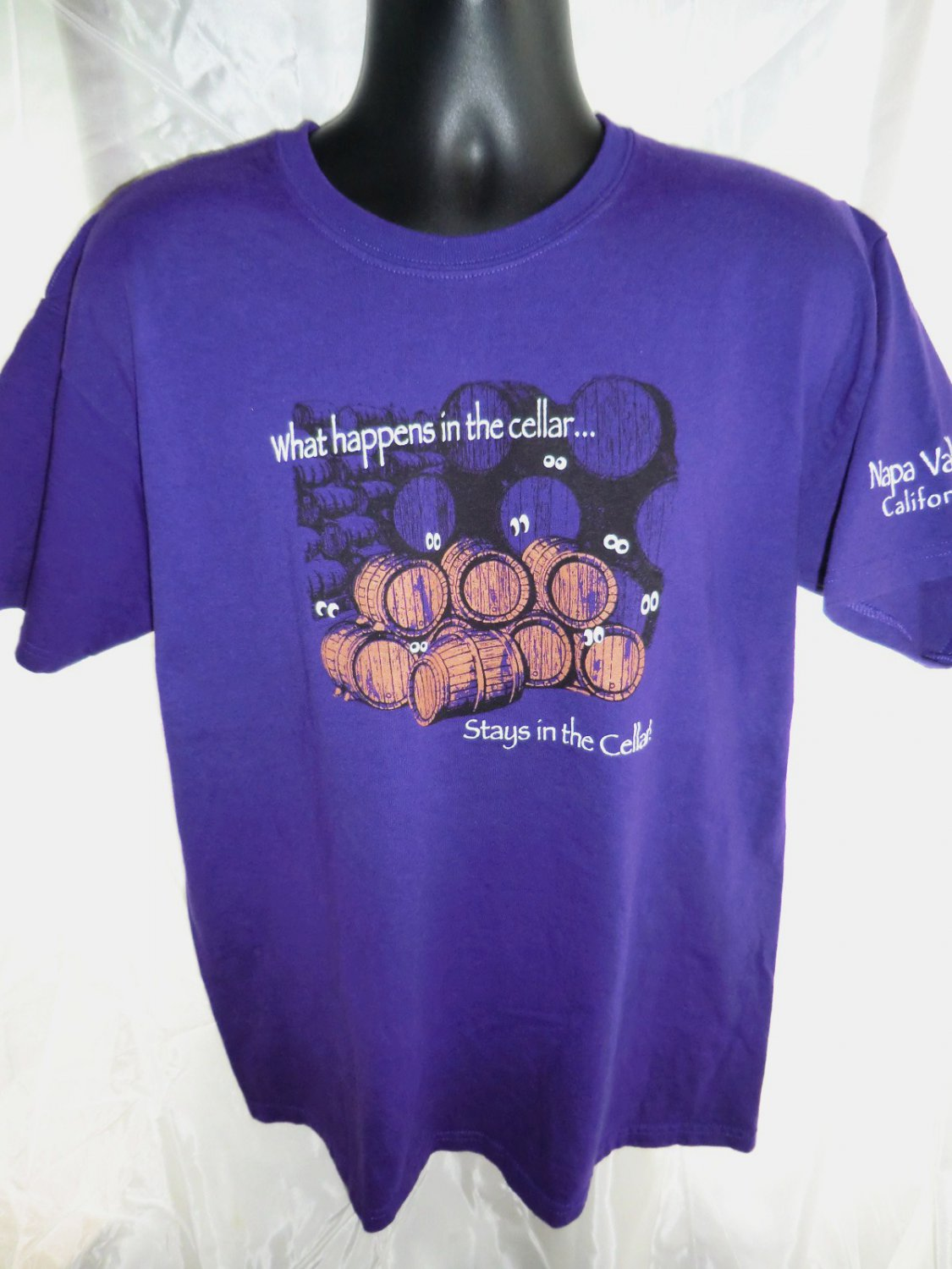 SOLD! Funny Wine T-Shirt �What happens in the Cellar�Stays in the Cellar� Size Large