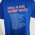 Funny BEING A GUY ROCKS Blue T-Shirt Size Medium Read the List