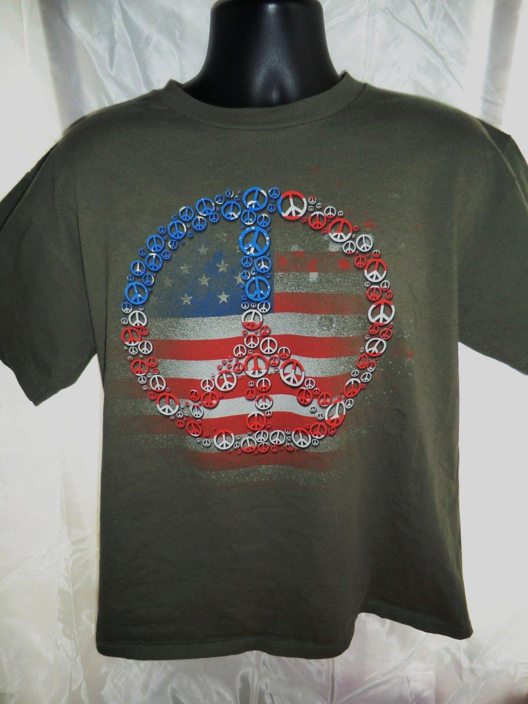 PEACE Symbol American Flag T-Shirt Size Large