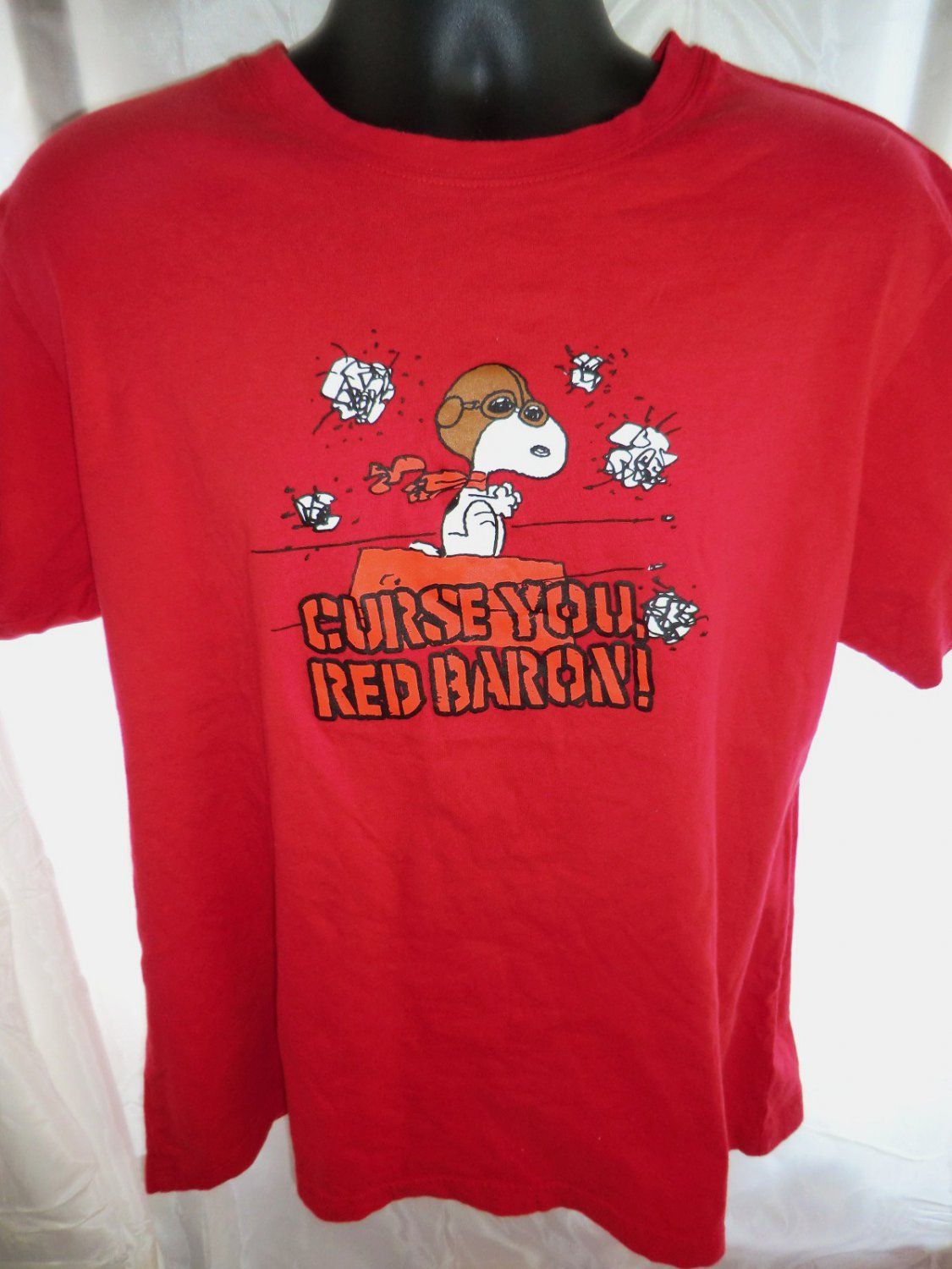 SOLD Snoopy CURSE YOU RED BARON Red T Shirt Size XL
