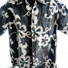 Reverse Hawaiian Button-Down Shirt Size Medium Go Barefoot Black White
