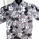 Pull-Over Hawaiian Shirt Size Medium Grey White Black Reverse Print