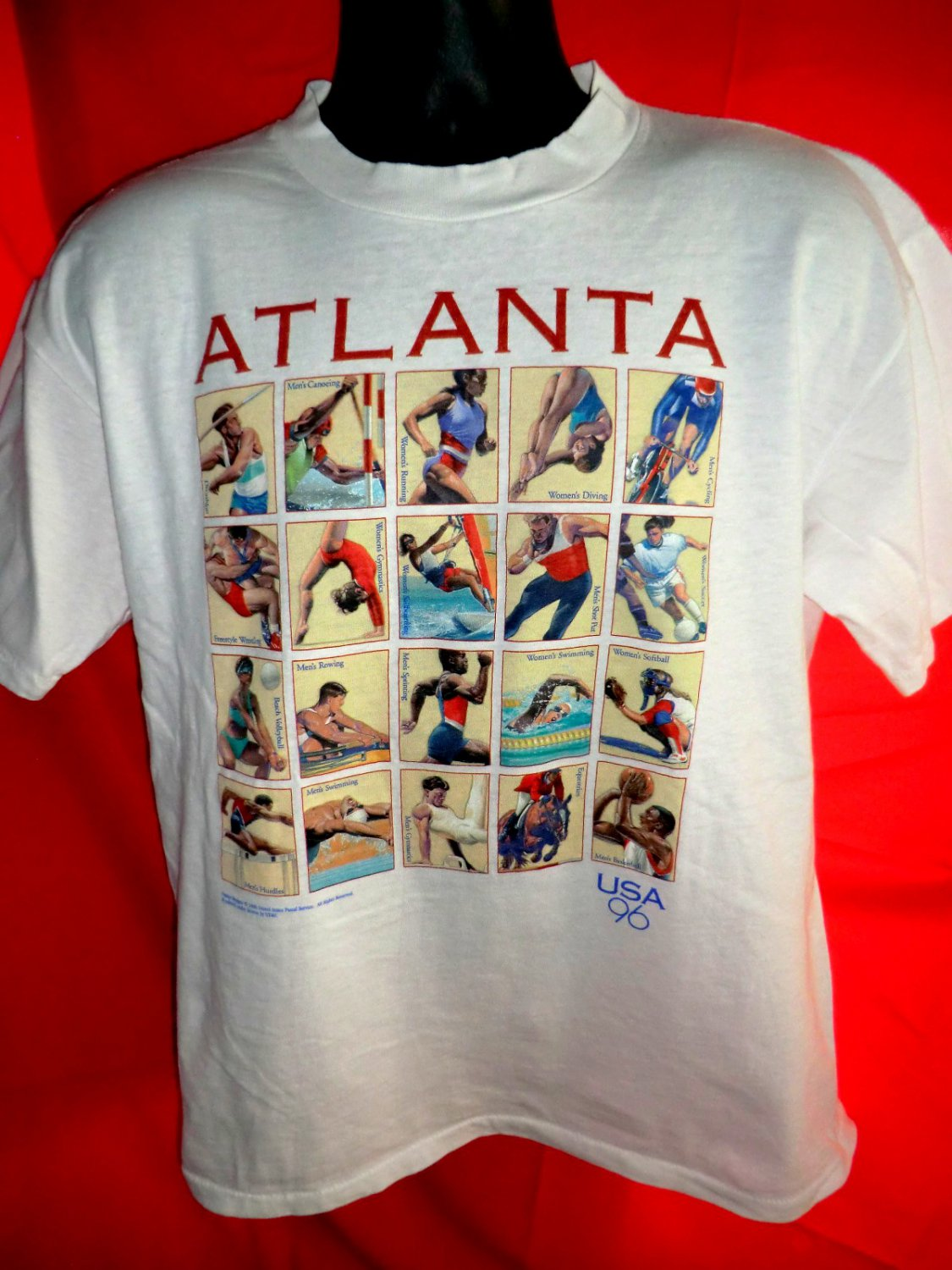 Atlanta olympics 1996 t shirt size large usps stamps design for Usps t shirt shipping