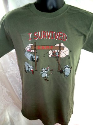 Funny Small T-Shirt ~ I Survived Camp T-Shirt Raccoon