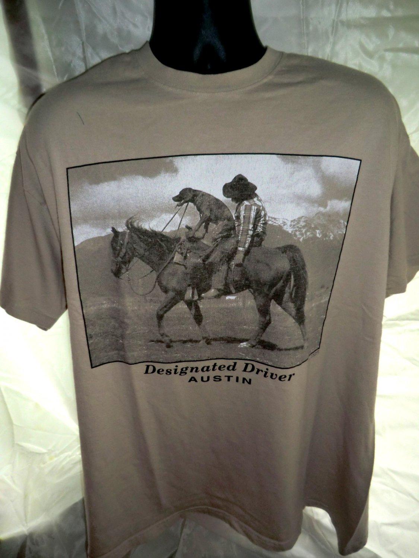 Designated Driver T Shirt Dog On Horse