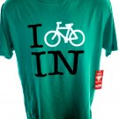 NEW Green T-Shirt  ~ I BIKE IN ~ Indiana  Size Large