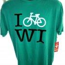 NEW Green T-Shirt ~ I BIKE WI ~ Wisconsin - Size Large