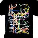 Manhattan NYC Map Transit T-Shirt Size Large New York Subway System