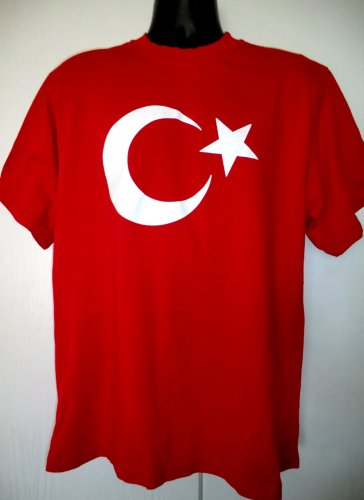 Red Crescent Moon Star T-Shirt Size Large ~ Flag Country of Turkey