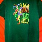 MARDI GRAS XL Green T-Shirt Jester New Orleans