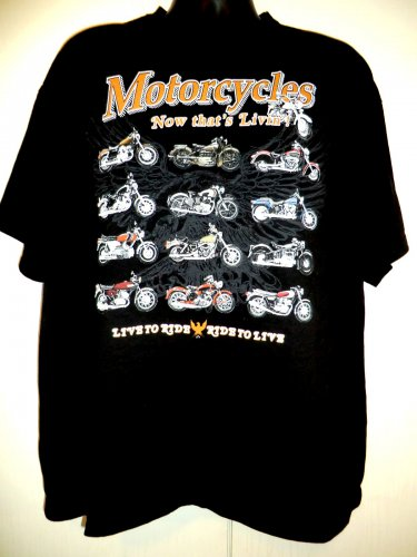 Motorcycles Live to Ride T-Shirt Size XXL