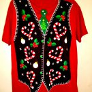 Ugly Christmas Sweater Vest T-Shirt Size XL
