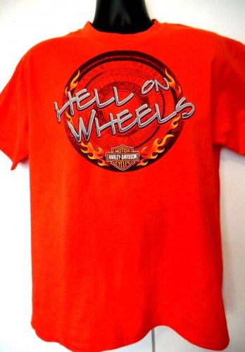 Vintage 2000 Harley Davidson Orange Medium T-Shirt  ~ Hell on Wheels ~ Minnesota Dealer
